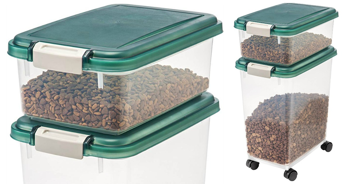 close up and full size view of pet food storage bins
