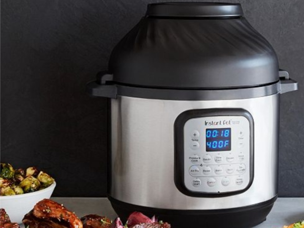 Instant Pot Duo Crisp on counter with food