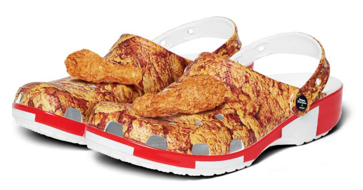 pair of Crocs with fried chicken design