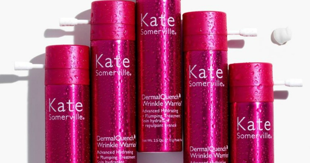 row of Kate Somerville DermaQuench Wrinkle Warrior serums