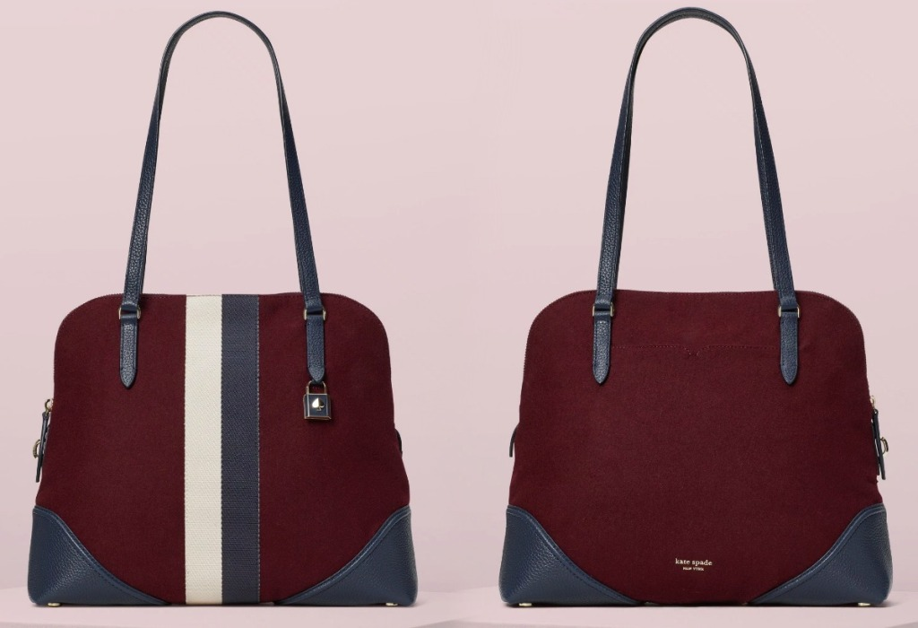 Women's maroon shoulder bag with white and navy stripe on counter top