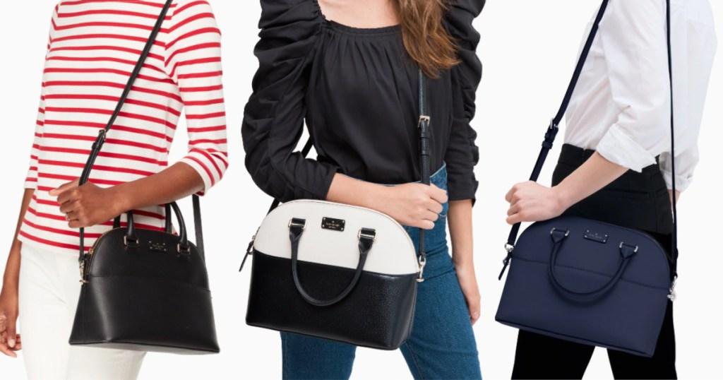 Three women holding handbags