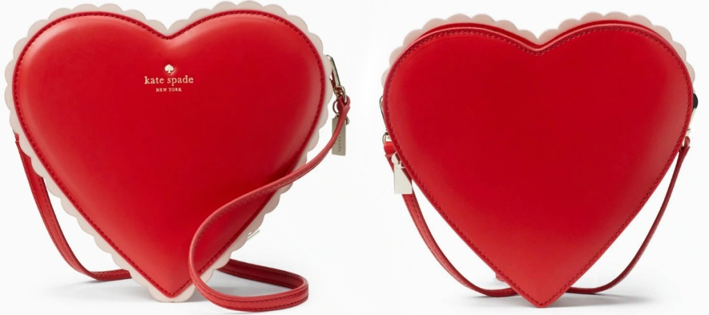 Front and back view of a heart-shaped hand bag