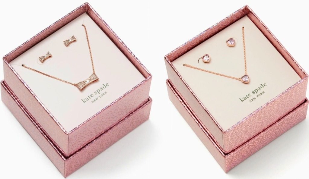 Two sets of jewelry in rose gold gift boxes