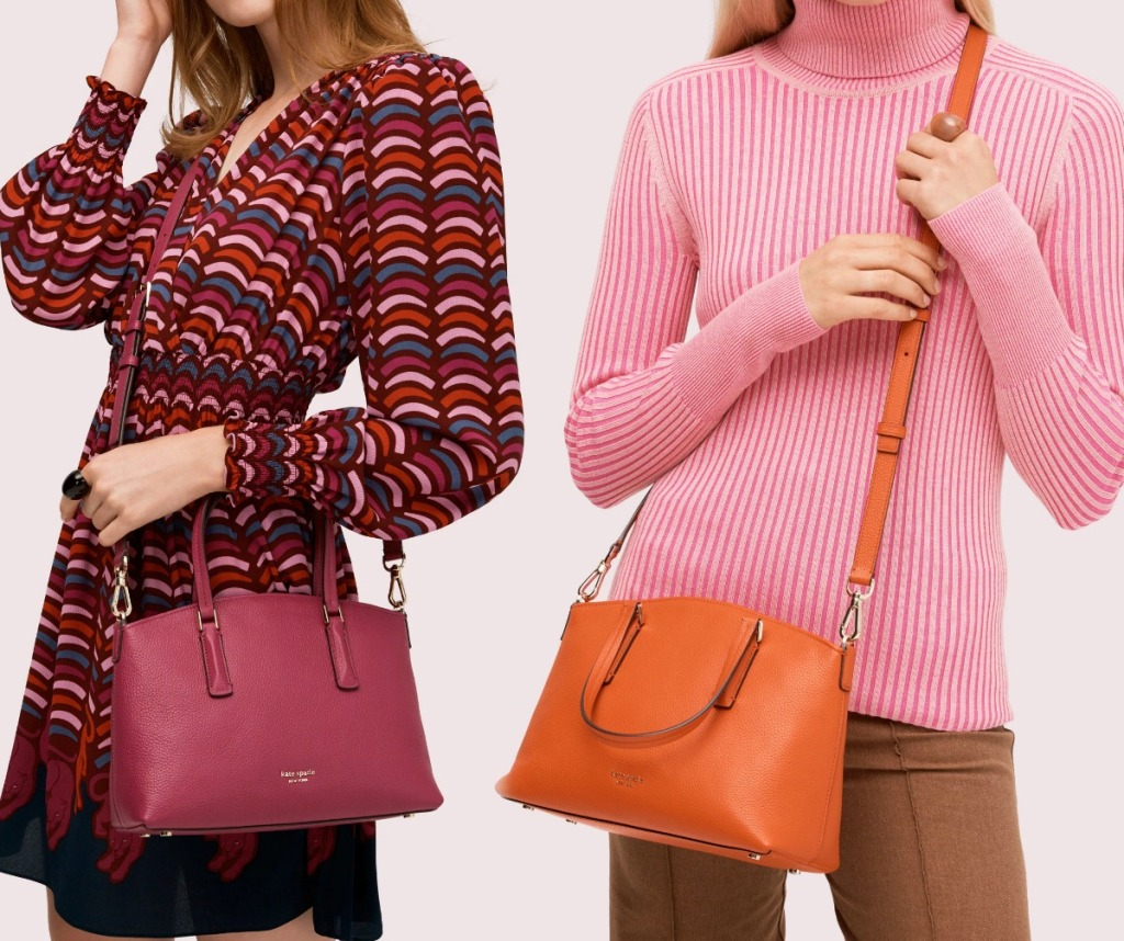 Two women wearing spring colored handbags