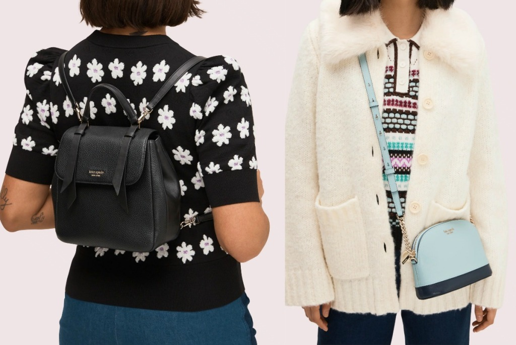 Two women wearing Kate Spade handbags in two different styles and colors - backpack and crossbody