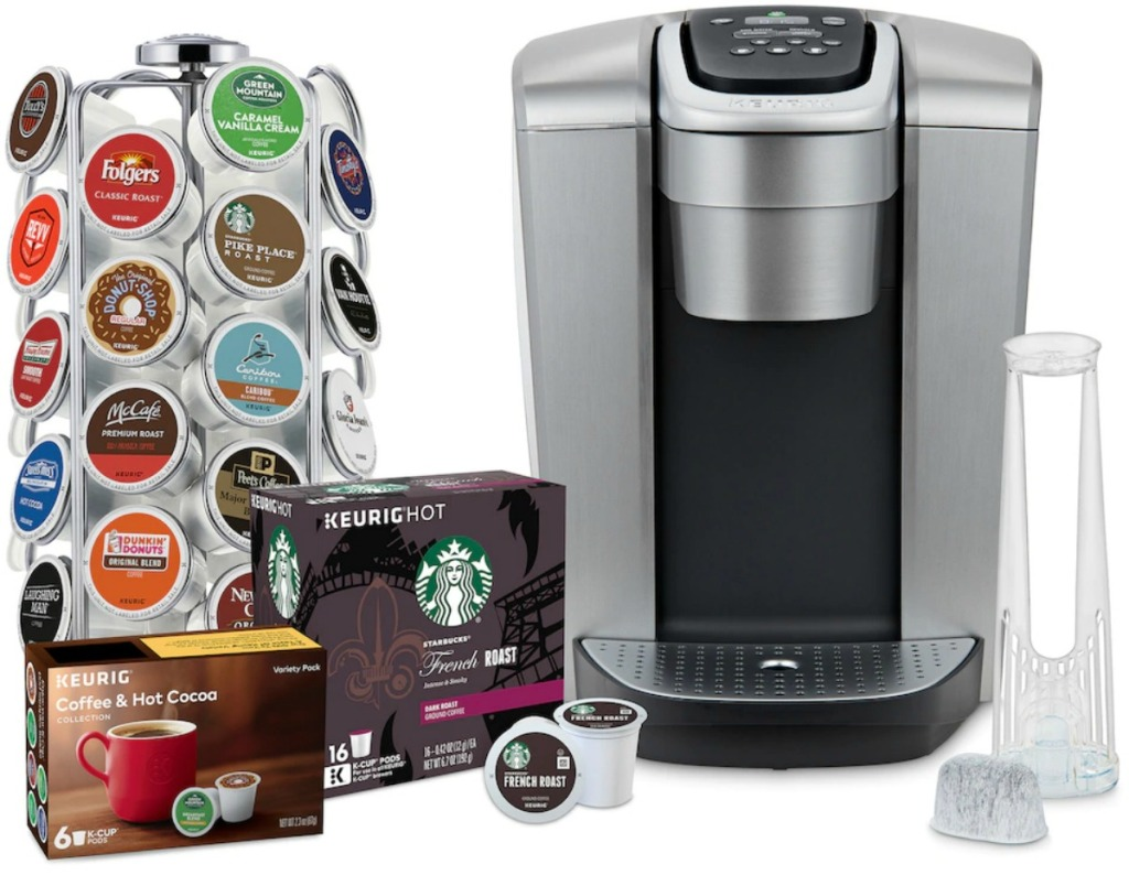 Single serve coffee brewer near k-cup holder and boxes of k-cups