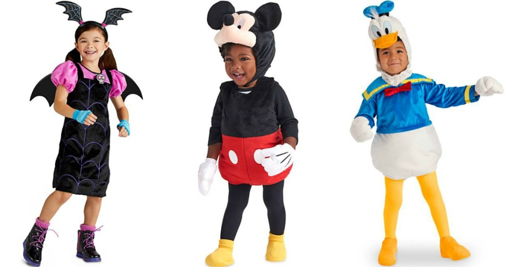 kids wearing vampirina, Mickey Mouse and Donald Duck costumes