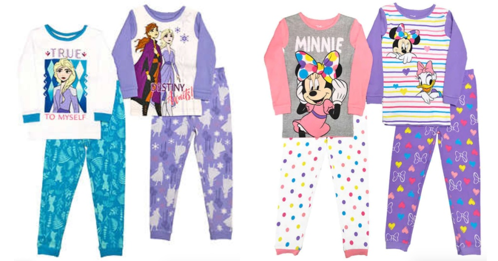 Disney Frozen and Minnie Mouse 4-Piece Kids Pajamas