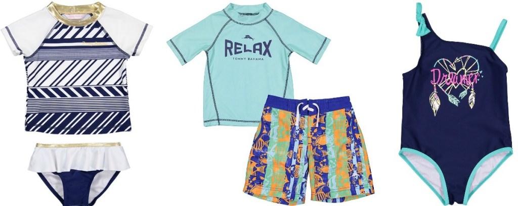 three sets of kids swimwear