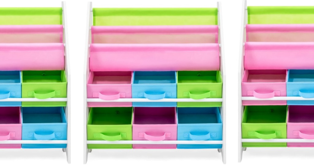 Pink, blue and green Kids Toy & Book Organizer