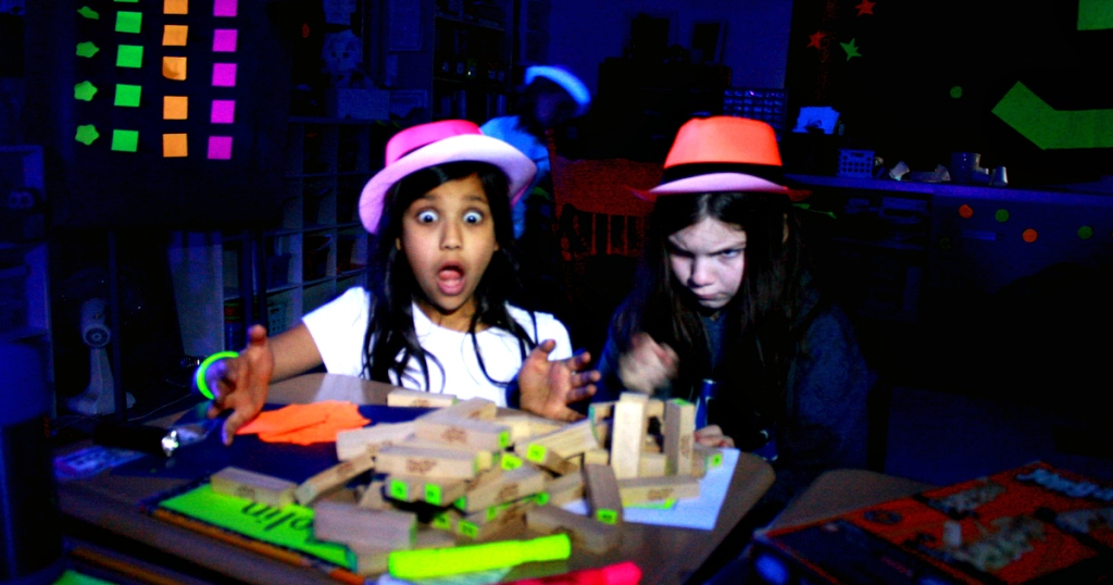 Kids playing glow in the dark games