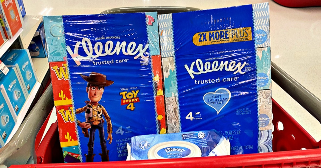 Kleenex Tissue Toy Story 4-Packs and kleenex wipes in Target shopping carts