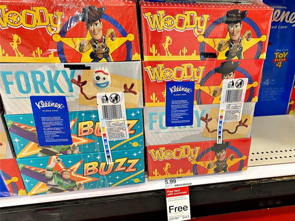 Kleenex Tissue Toy Story 4-Packs on shelf in Target
