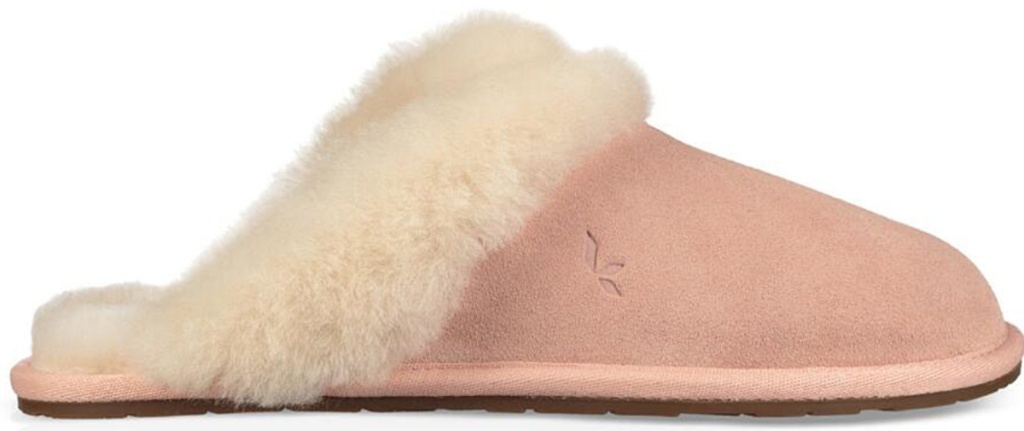 pale blush slipper with white fur lining