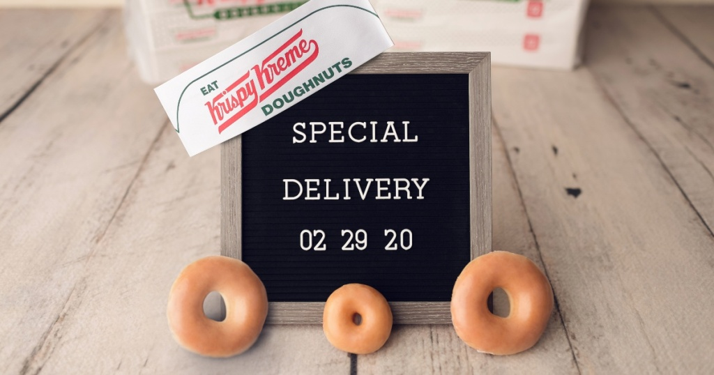 Krispy Kreme doughnuts with Special Delivery sign