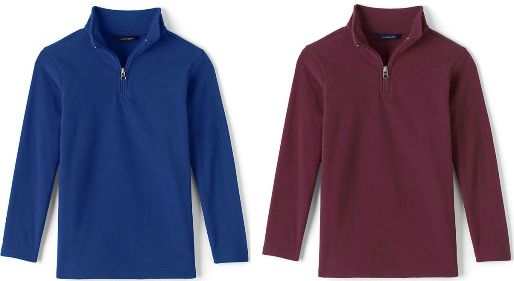 Two styles of boys zip up pullovers - blue and burgundy