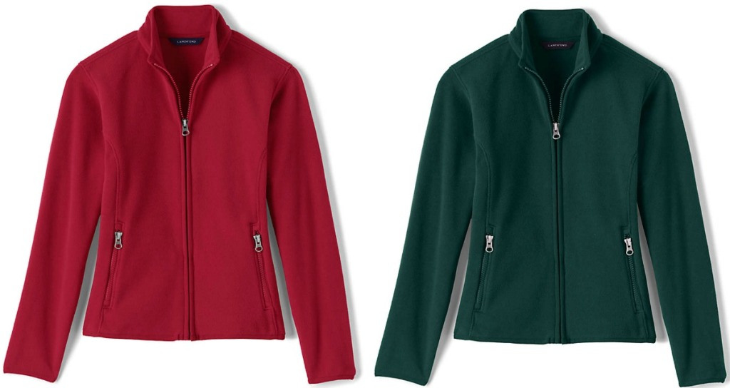 Two styles of girls pullover jackets - red and green