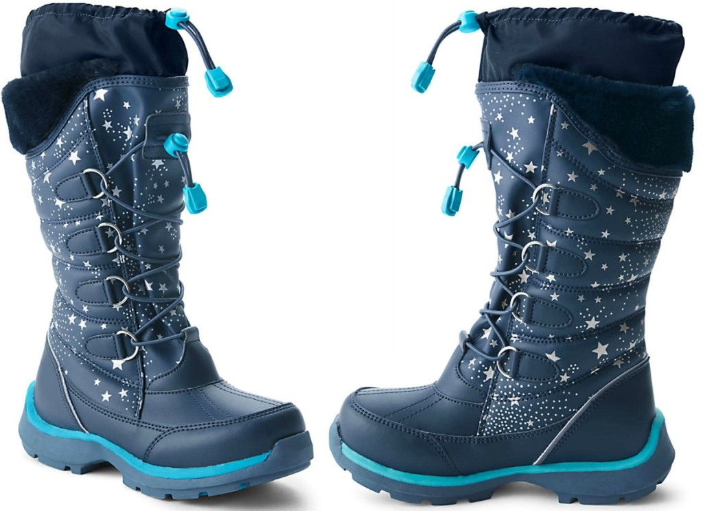 Black and blue girls snow boots with drawstring top
