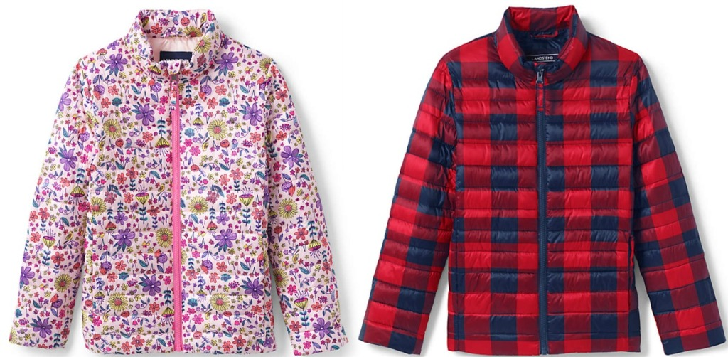 Two styles of kids puffer jackets in two prints - floral and red/navy plaid