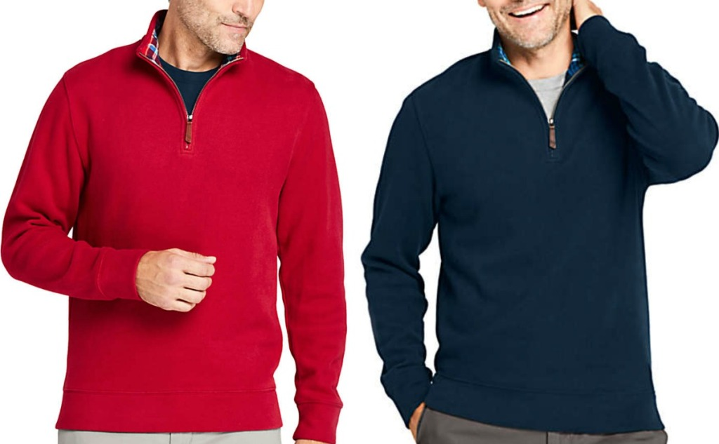 Men wearing two different colors of pullovers - red and navy
