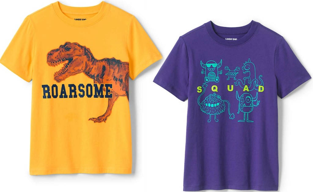 Two boys graphic tees - one in yellow, one in purple