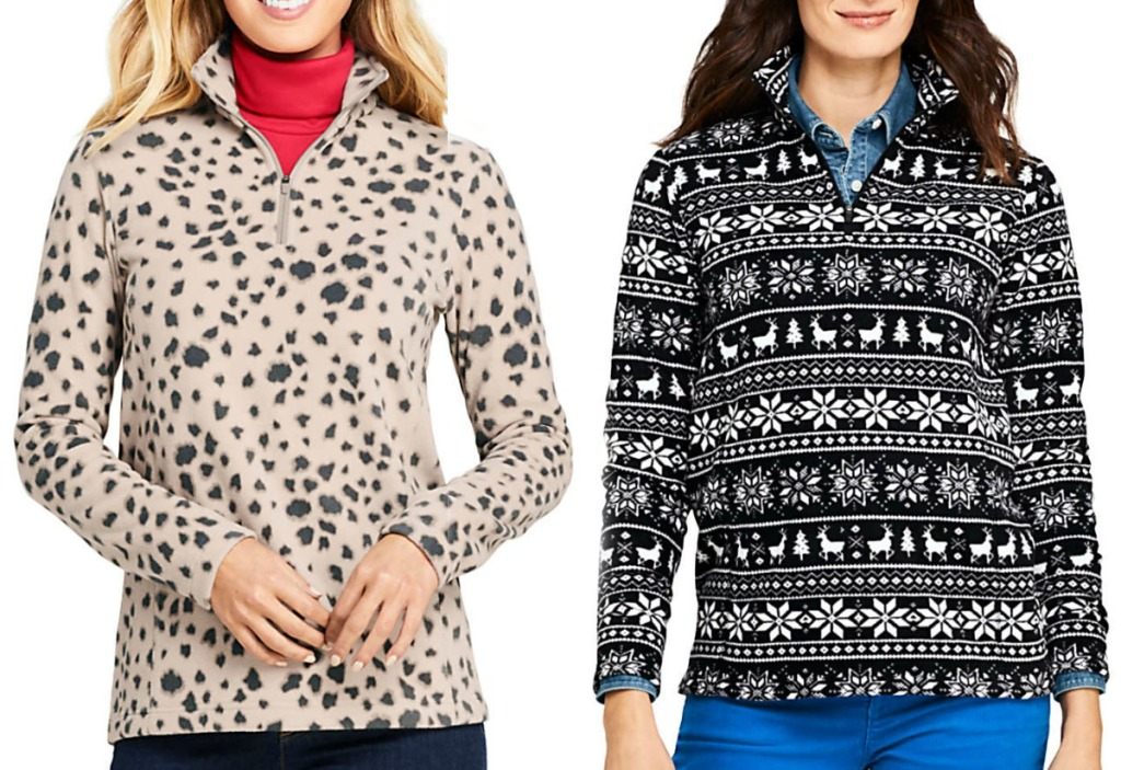 Two women wearing pullover jackets in two different prints