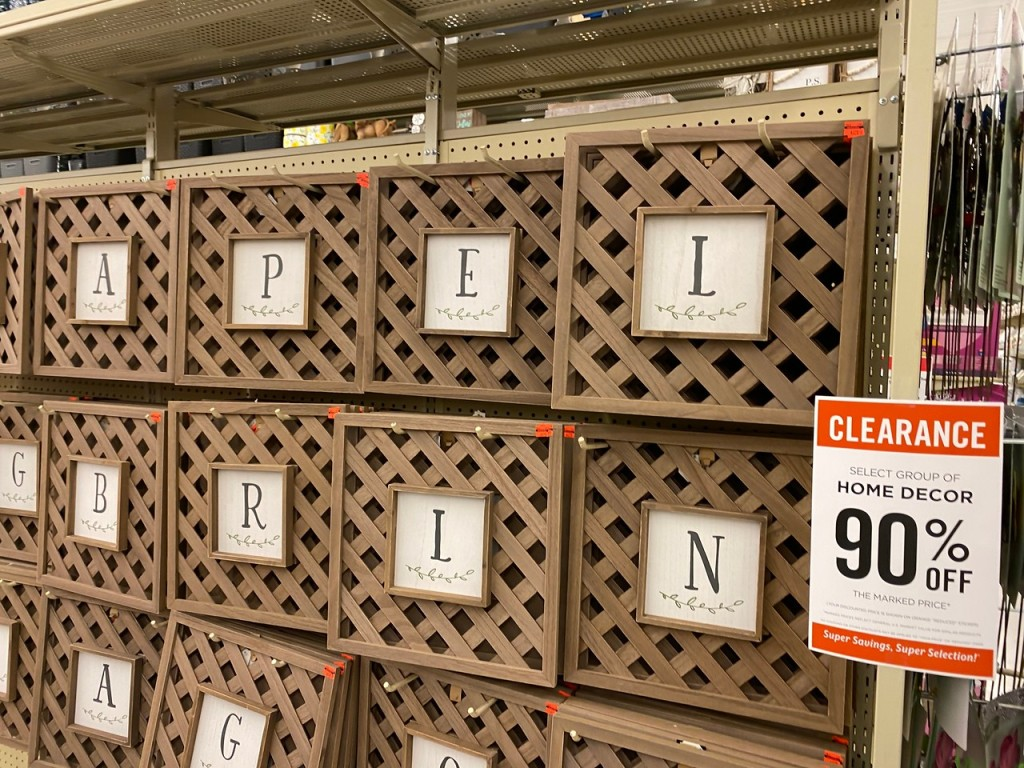 Lattice Work Letters hanging at Hobby Lobby