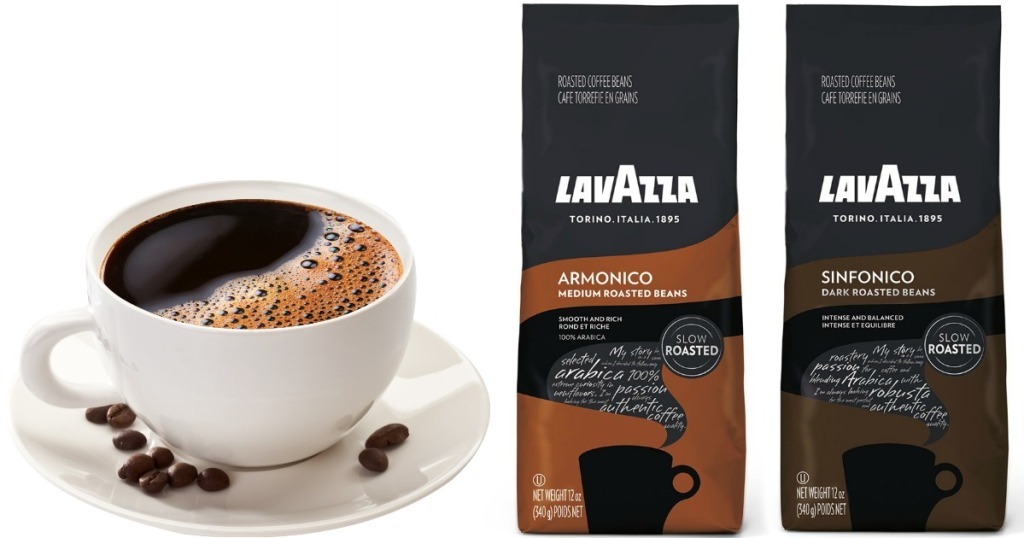coffee in a mug surrounded by coffee beans and two bags of Lavazzaa coffee