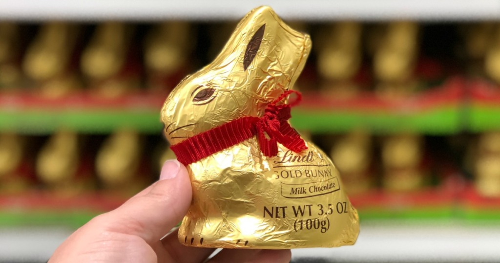 hand holding a Lindt Gold Bunny
