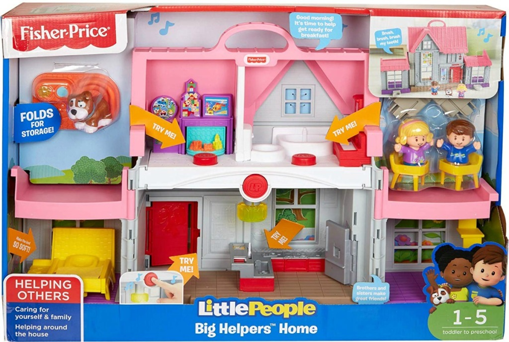 Large childrens dollhouse style playset in package with characters
