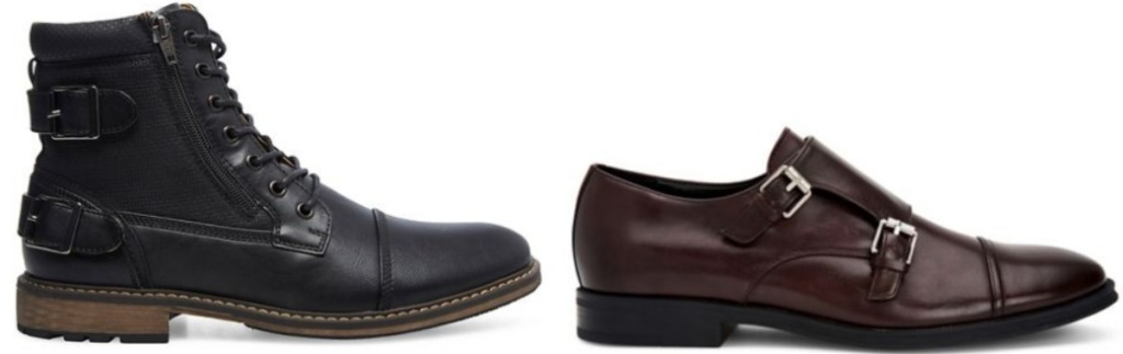 Two styles of men's leather footwear - boot and dress shoe