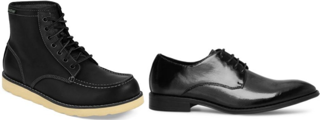 Two styles of men's leather shoes - large boot and dress shoe in black