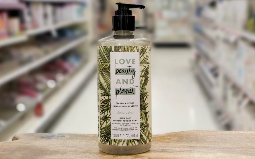 Bottle of hand soap on display in-store