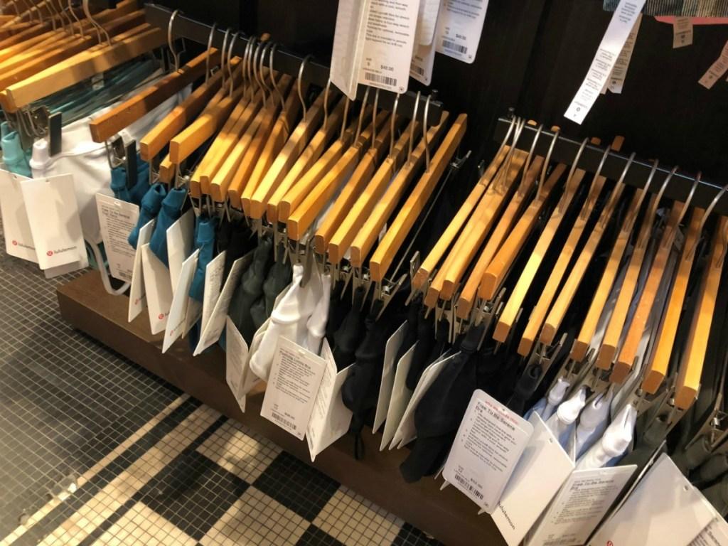 Women's panties on hangers in-store