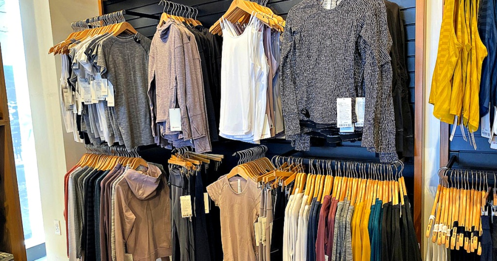 Lululemon Store with shirts on hangers