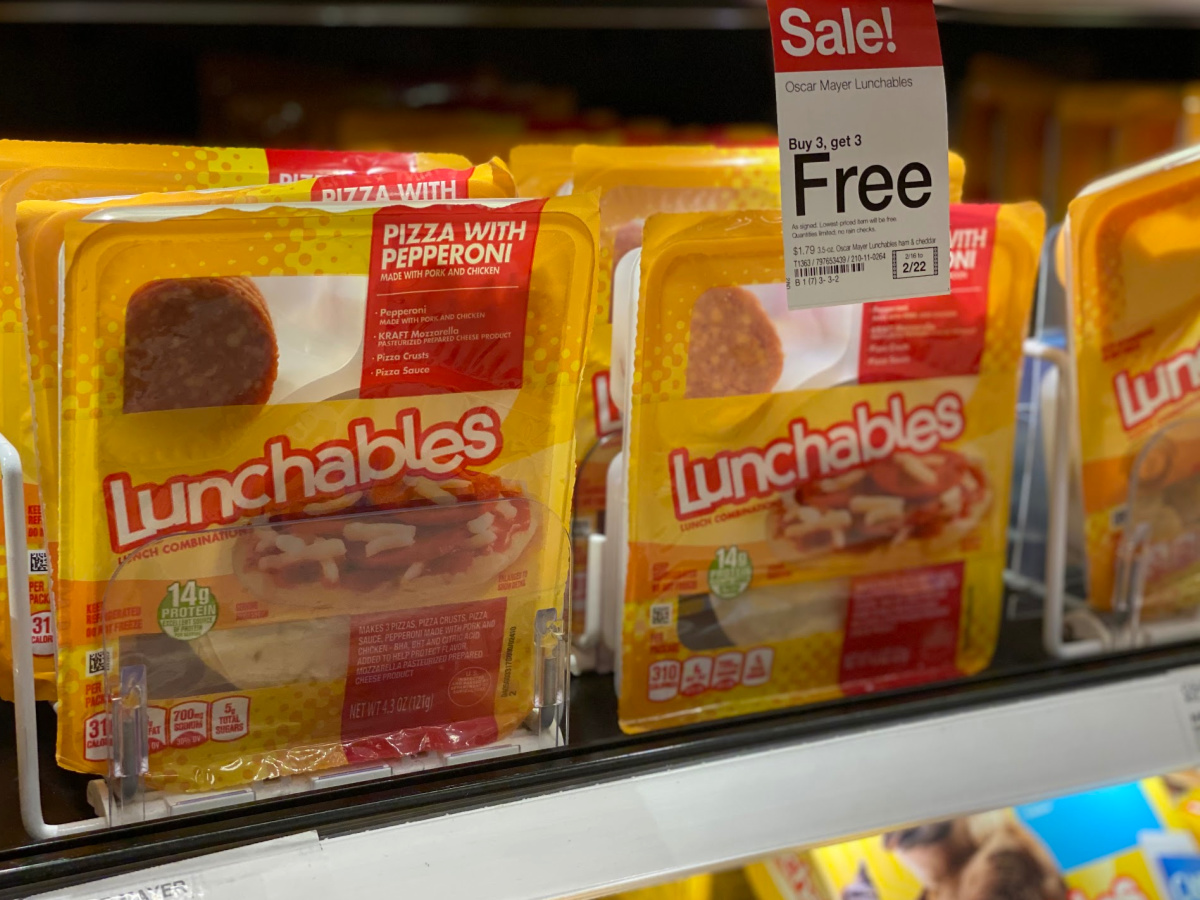 lunchables on shelf at target with buy 3 get 3 sign