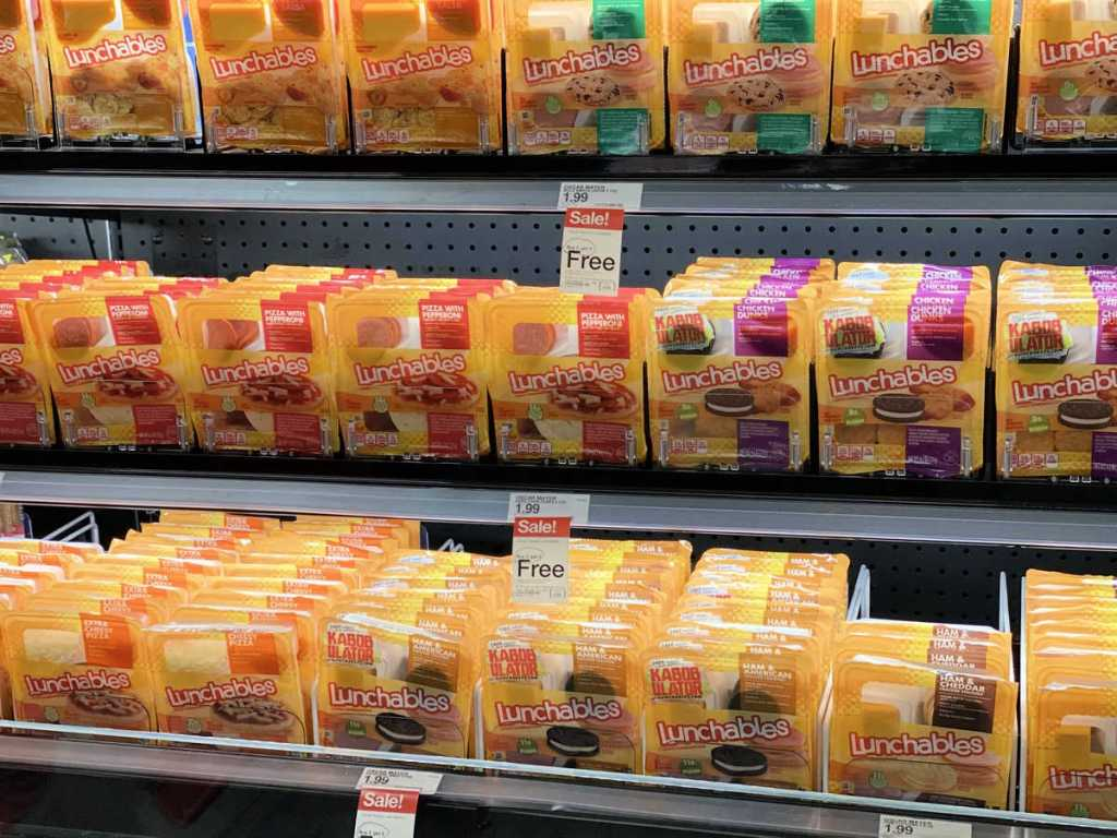 target shelf with lunchables