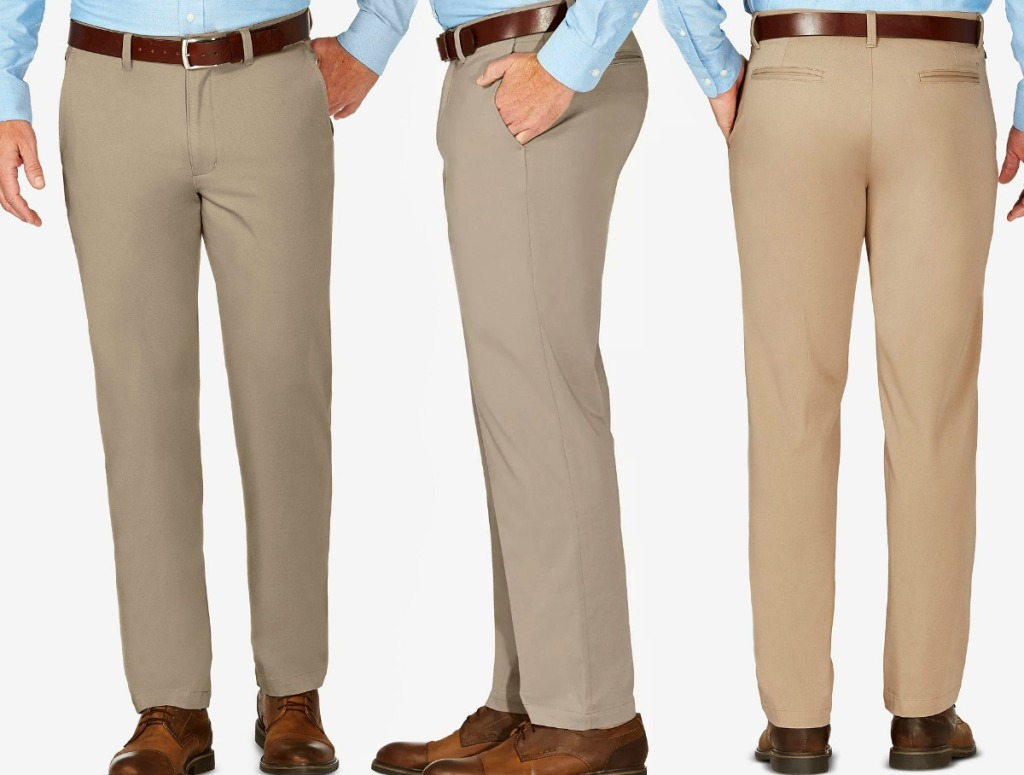 Man wearing khaki dress pants with brown belt and blue shirt - front back and side view