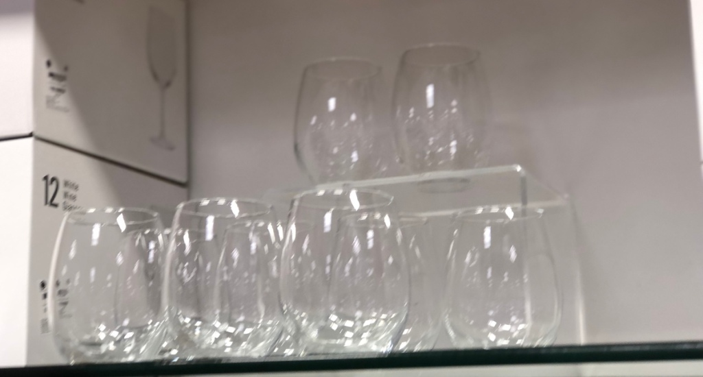display of glassware at a store