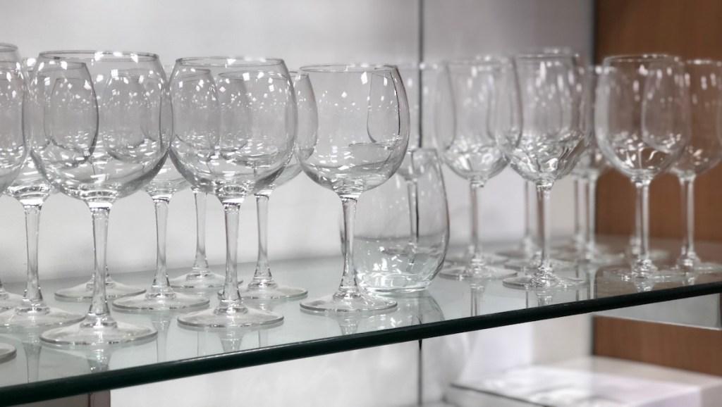 Martha Stewart Glassware on a shelf at Macy's
