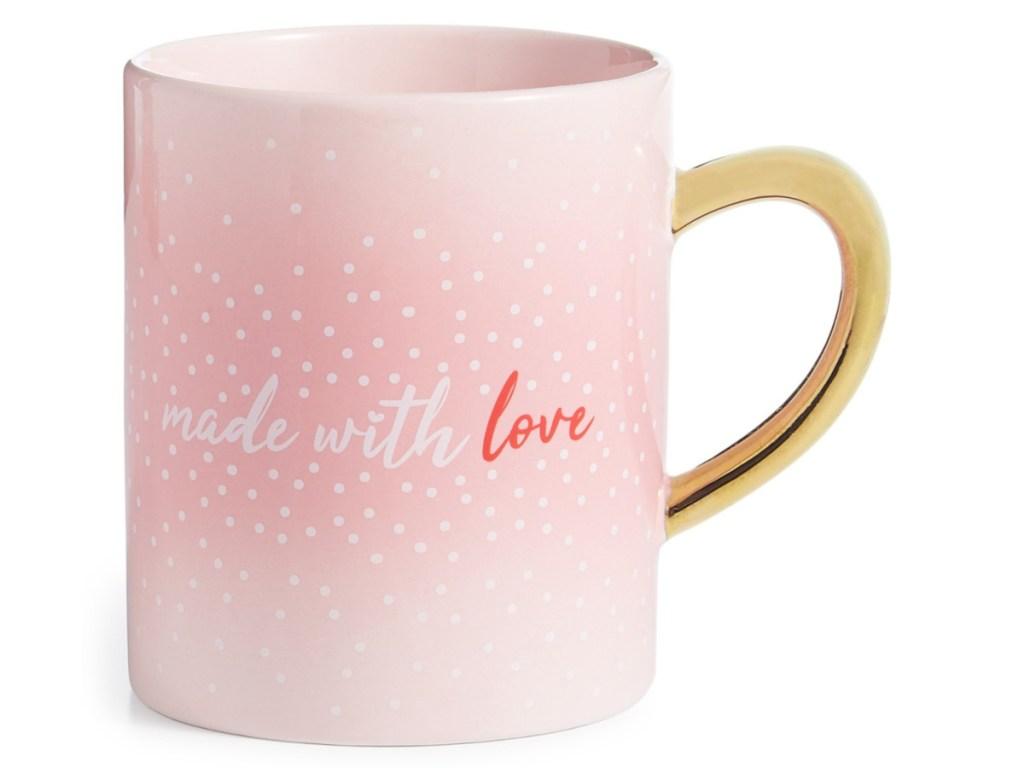 "Pink ""made with love"" mug"