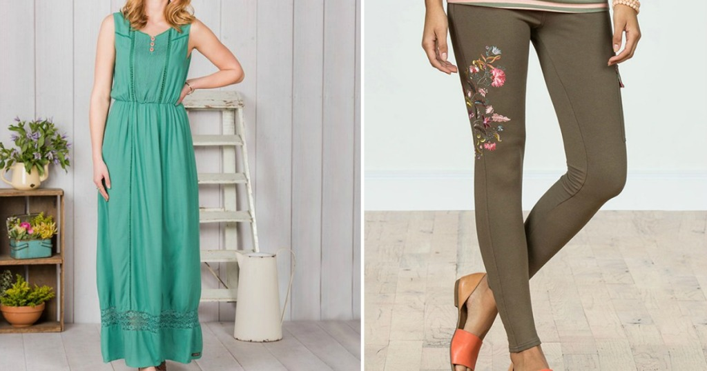 woman wearing a dress and womans legs wearing pants