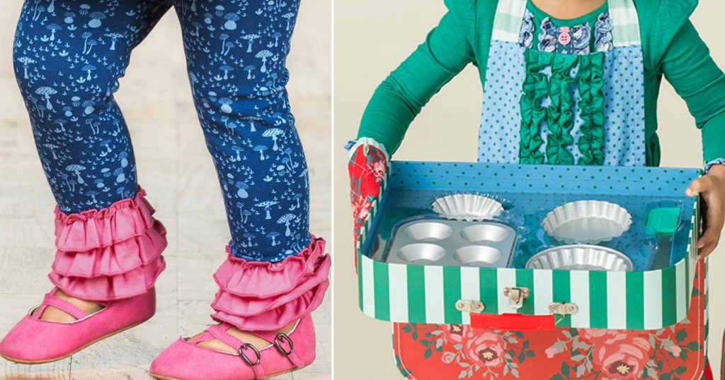 girls legs and a girl holding a box with cookie supplies