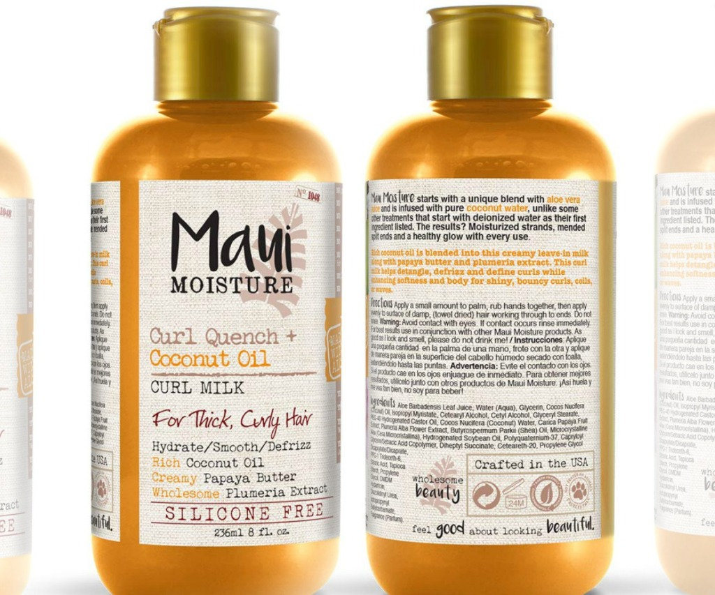 Front and back view of golden coconut oil