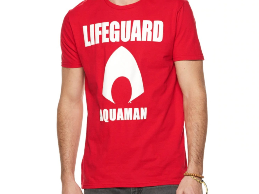 Men's red lifeguard graphic tee
