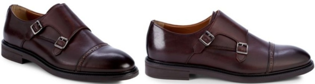 Two different colors of men's brown leather double-buckle dress shoes