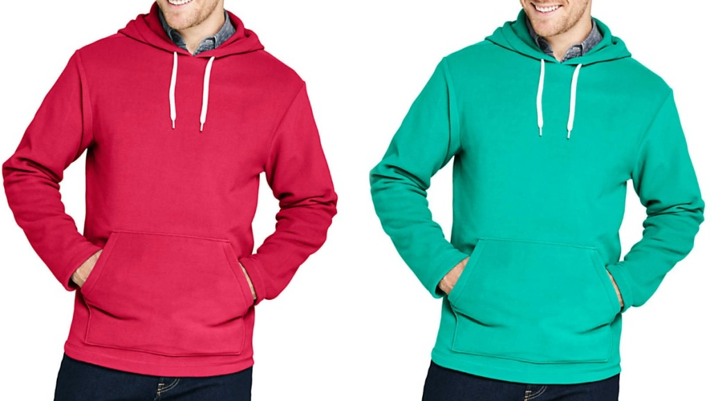 Man wearing two colors of hoodies with white draw string - red and green