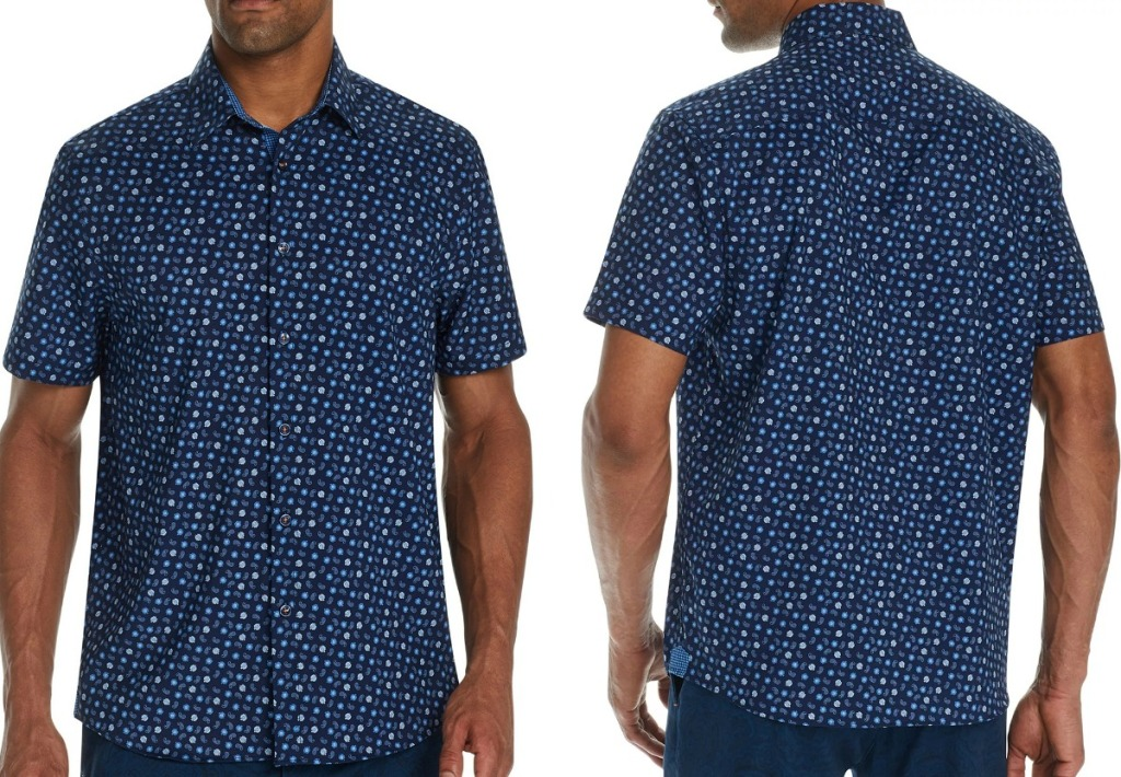 Man wearing a dark blue paisley shirt - front and back view