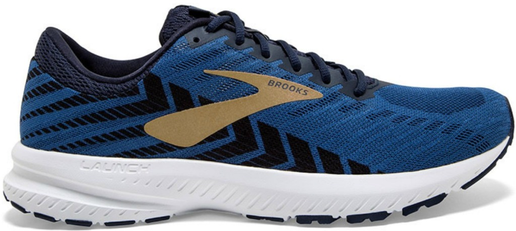 Men's navy blue running shoe with white sole and golden logo